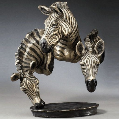 "Zebra Bronze Sculpture ""Watering Hole"""