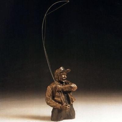"Bronze Fisherman Sculpture ""Gotcha"""