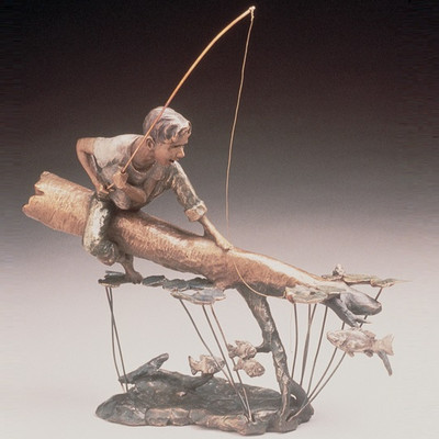 "Child Fishing Bronze Sculpture ""Fishing Hole"""