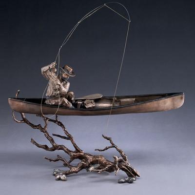 """Fisherman in Canoe Bronze Sculpture """"Upstream"""""""
