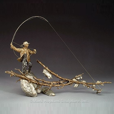 "Female Fishing Bronze Sculpture ""Setting the Hook"""