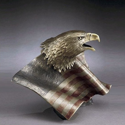 """Bronze Eagle with Flag Sculpture """"Justice for All"""""""