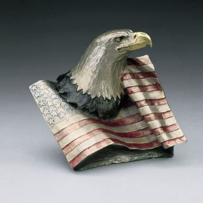 "Eagle with Flag Bronze Sculpture ""Justice"""