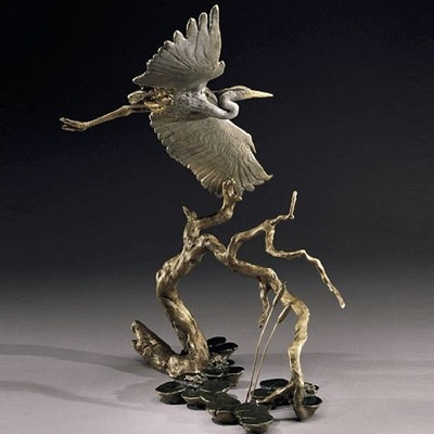Great Blue Heron Bronze Sculpture