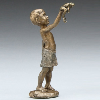 """Frog and Boy Sculpture """"Found a Frog"""""""