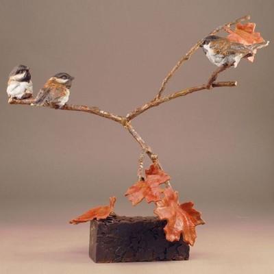 "Bronze Chickadee Sculpture ""Three's a Crowd"""