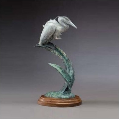 "Heron Bronze Sculpture ""Morning's Calm"" White"