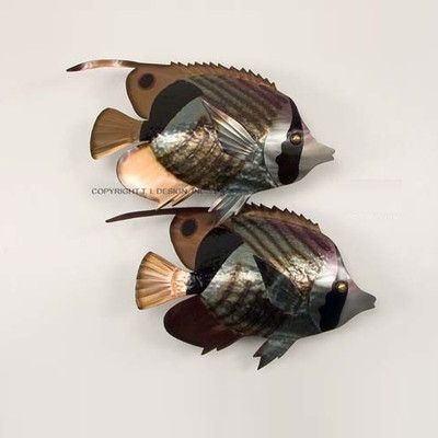 Striped Butterfly Fish Pair Metal Reef Sculpture