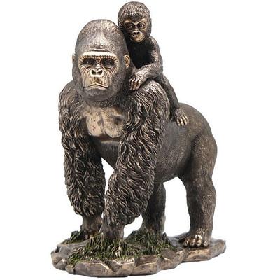 Gorilla and Baby Bronze Finish Sculpture
