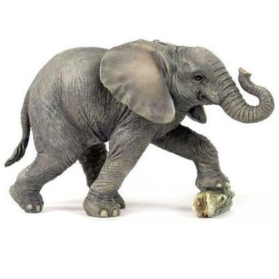 Elephant Baby Kicking Rock Sculpture