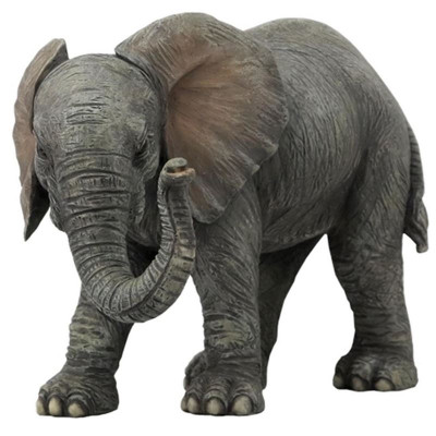 Gray Elephant Baby Sculpture