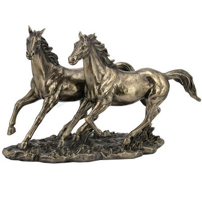 Horses Running Sculpture in Bronze Finish