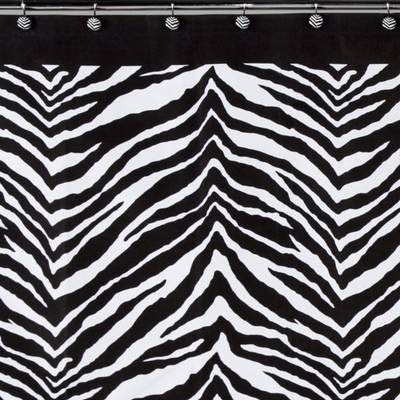 Zebra Print Shower Curtain and Hooks Set