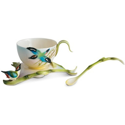 Bamboo Songbird Cup Saucer Spoon | FZ00570