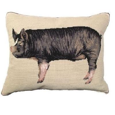 Berkshire Pig Needlepoint Down Pillow