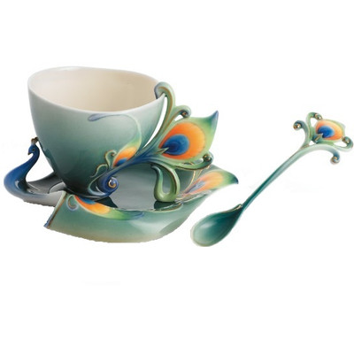 Luminescence Peacock Cup, Saucer Spoon | fz01205