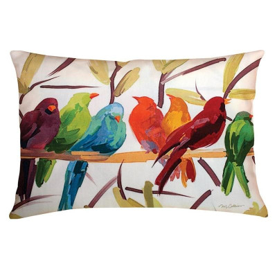 Flocked Together Bird Outdoor Pillow