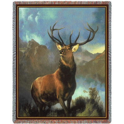 Monarch of the Glen Deer Tapestry Afghan Throw