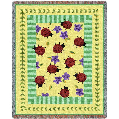 Ladybug Garden Tapestry Throw Blanket
