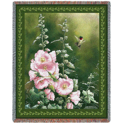 Hummingbird Woven Throw Blanket Hollyhock Hummer