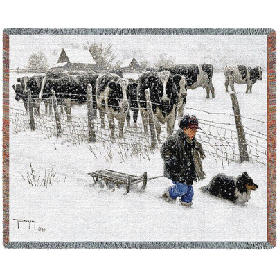 Curious Onlookers Cow Woven Throw Blanket