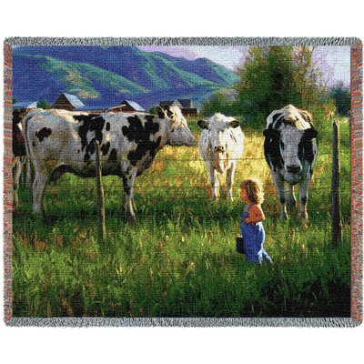 Anniken and the Cows Tapestry Throw Blanket