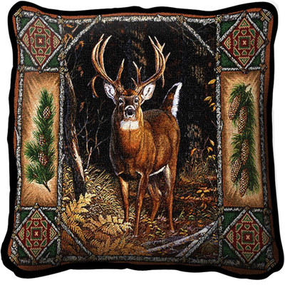 Deer Lodge Woven Throw Pillow | Pure Country | pc3340p