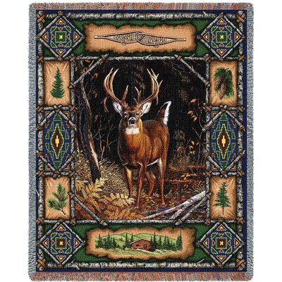Deer Lodge Tapestry Throw Blanket