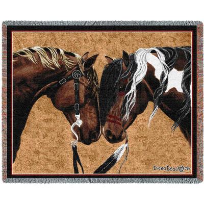Warriors Truce Horse II Woven Throw Blanket