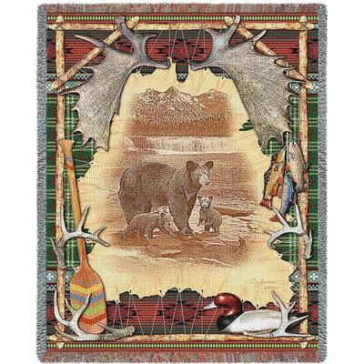 Bear Tapestry Throw Blanket Antler Lodge