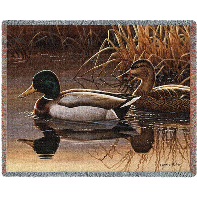 Quiet Couple Duck Woven Throw Blanket