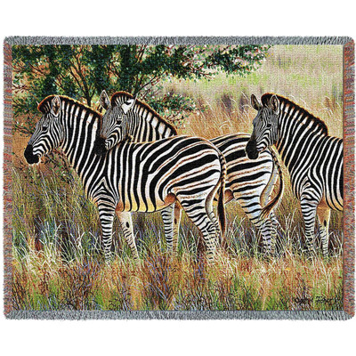 Three Zebra Group Tapestry Afghan Throw Blanket