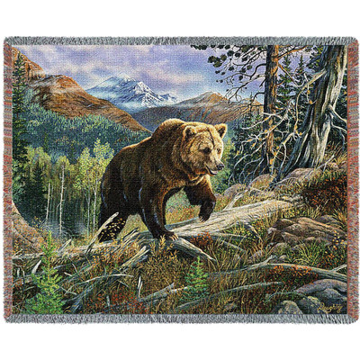 Bear Over the Top Tapestry Afghan Throw Blanket