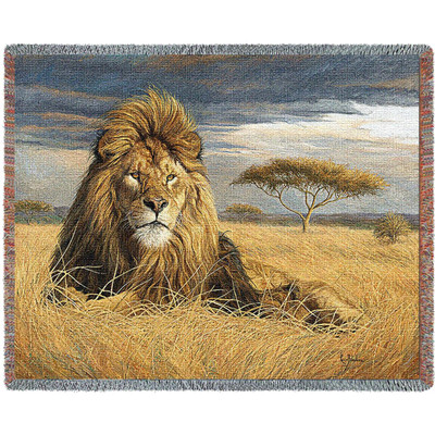 King of the Pride Lion Tapestry Afghan Throw Blanket
