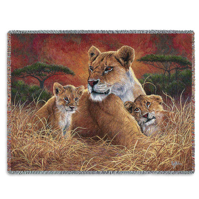 Lion Mother and Cubs Tapestry Throw Blanket Motherly