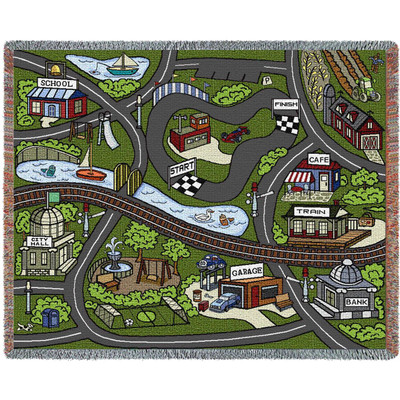 Farmhouse Road Play Throw Blanket