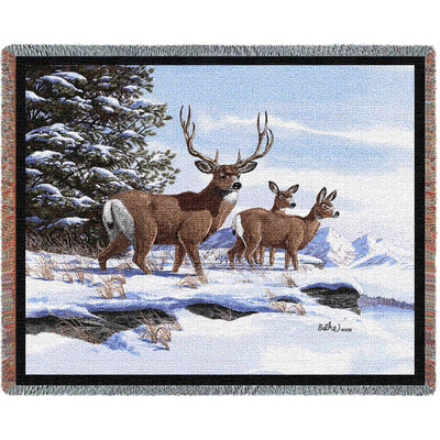 Mule Deer Woven Throw Blanket