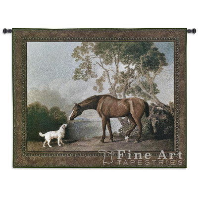 Bay Horse and White Dog Tapestry Wall Hanging