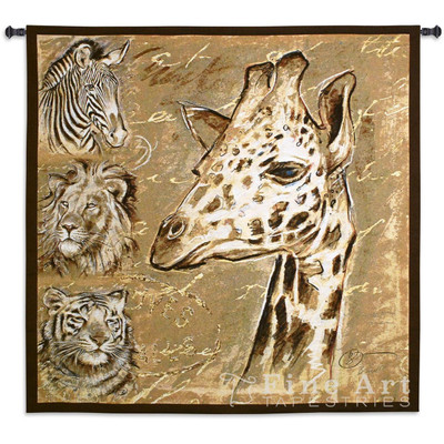 Giraffe Tiger Lion Zebra Safari Tapestry Wall Hanging