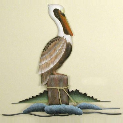 Lone Pelican Wall Sculpture