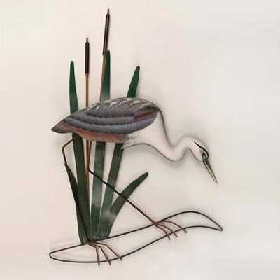 Heron Wall Sculpture Head Down