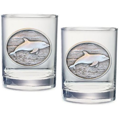 Dolphin Double Old Fashioned Glass Set of 2