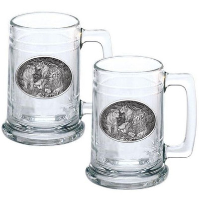 Lion Stein Set of 2