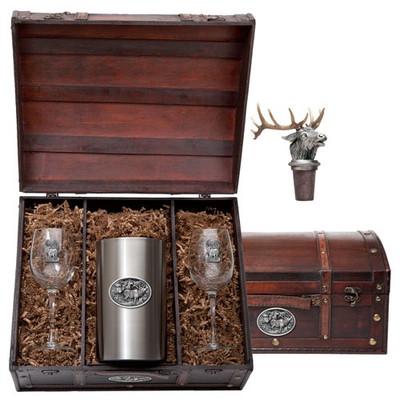 Elk Wine Chest Set | Heritage Pewter | HPIWSC104
