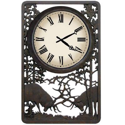 Battling Bull Deer Outdoor Clock