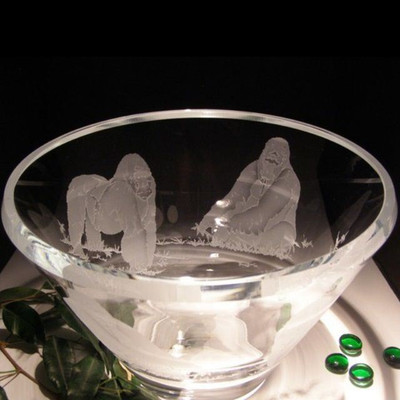 Gorilla Scene Luminous Crystal Bowl