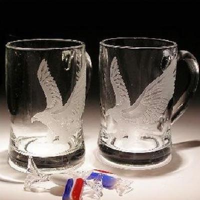 Eagle Crystal Beer Mug Set of 2