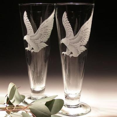 Eagle Crystal Pilsner Glass Set of 2