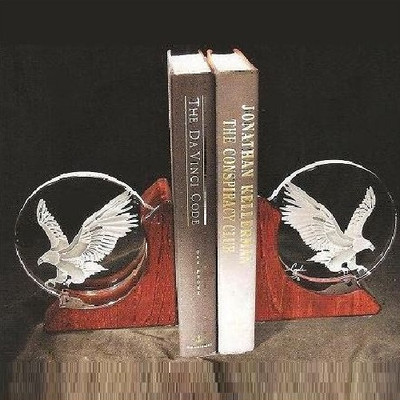 Eagle Crystal Bookends