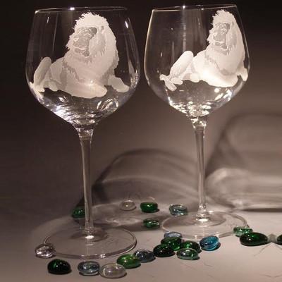 Lion Crystal 18 oz Wine Glass Set of 2